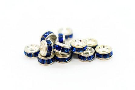 Rhodium Plated Brass / Capri Blue Swarovski Crystal Rhinestone Rondelle Spacer Bead