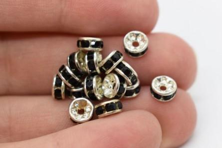 Rhodium Plated Brass / Jet Swarovski Crystal Rhinestone Rondelle Spacer Bead