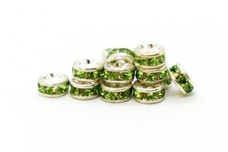 Rhodium Plated Brass / Peridot Swarovski Crystal Rhinestone Rondelle Spacer Bead
