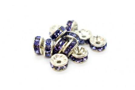 Rhodium Plated Brass / Tanzanite Swarovski Crystal Rhinestone Rondelle Spacer Bead