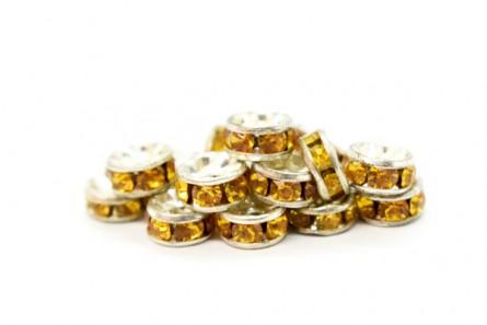 Rhodium Plated Brass / Light Topaz Swarovski Crystal Rhinestone Rondelle Spacer Bead