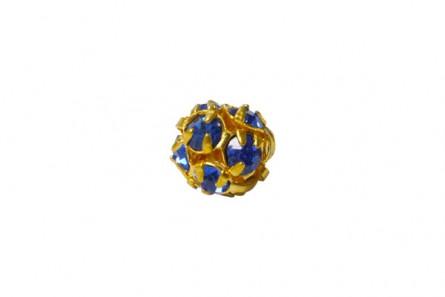 Sapphire Swarovski Crystal Rhinestone Pave Round Bead - Gold Plate 8mm