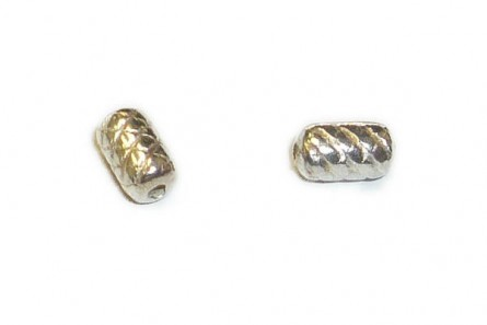 Sterling Silver Bali Style Textured Tube  Bead 3.5mm x 6mm - BA105