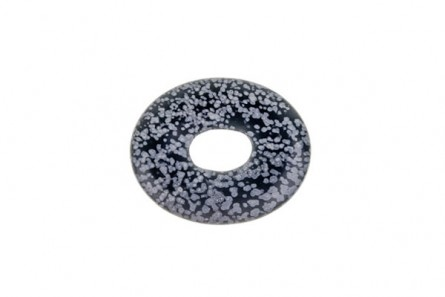 Snowflake Obsidian, Natural,  A Grade, Oval Donut Pendant - 40mm