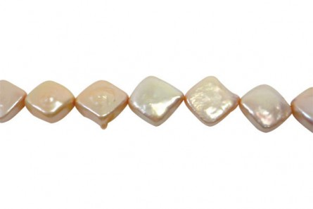 Square ( Diagonally Drilled ) Freshwater Pearl -Champagne / Beige, ( Dyed  ) 12mm