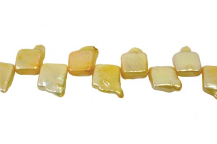 Top Drilled Square Freshwater Pearls, Yellow, A Grade, 12x15mm