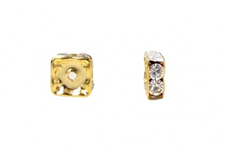 Gold Plated Brass / Crystal Swarovski Crystal Rhinestone Squaredelle Spacer Bead