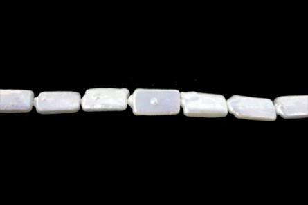 Stick ( Long Drilled ) / Rectangle Freshwater Pearl - White, ( Dyed  ) 9x17mm