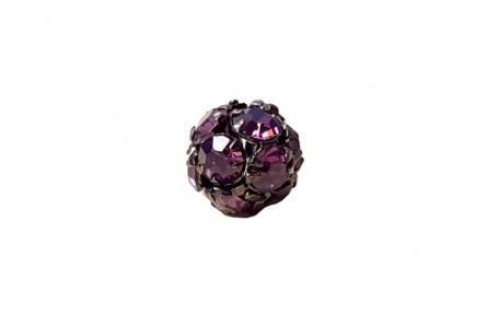 Rose /Oxidized Swarovski Crystal RhinestoneProng Set Pave Round Bead - 8mm