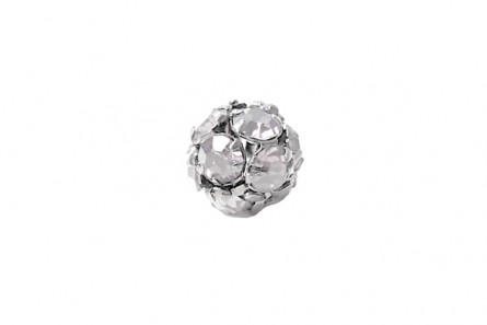 Rhodium Plated Brass ,Crystal ,Swarovski Crystal Rhinestone Prong Set Pave Round Bead 10mm