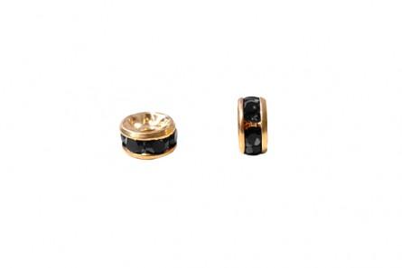 Gold Plated Brass / Jet Swarovski Crystal Rhinestone Rondelle Spacer Bead
