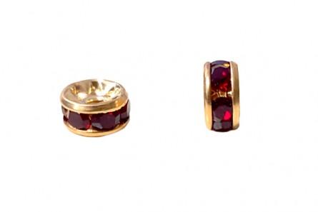 Gold Plated Brass / Siam Swarovski Crystal Rhinestone Rondelle Spacer Bead