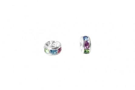 Rhodium Plated Brass / Multi-Colored Swarovski Crystal Rhinestone Rondelle Spacer Bead