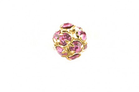 Rose /Gold Plate Swarovski Crystal Rhinestone Prong Set Pave Round Bead - 8mm