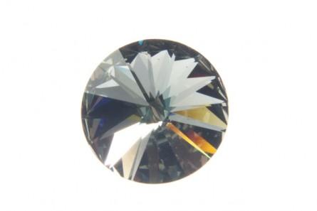 Black Diamond Swarovski Crystal Faceted Rivoli Rhinestone - Silver Foil Back 1122