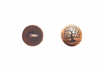 Button, Tree of Life,TierraCast® , antique copper-plated pewter, 16mm flat round