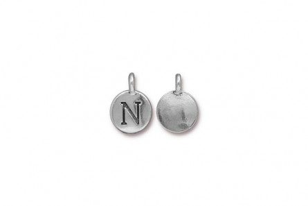 Letter N TierraCast® Charm - Antique Silver Plated Pewter