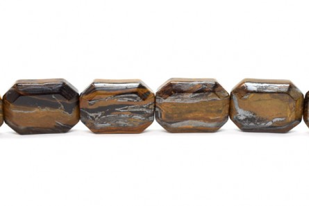 Tiger Iron (Natural) Flat Rectangle Gemstone Beads with Shallow Facets