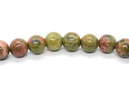 Unakite (Natural) Smooth Round Gemstone Beads - Large Hole (Sale)