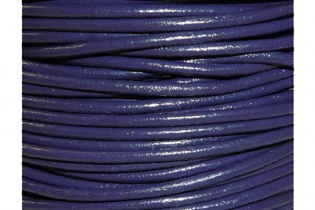 Cord, leather (dyed), purple dark, round, greek. Sold per foot.