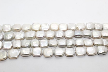 Square Freshwater Pearl - White, ( Dyed  ) 10mm