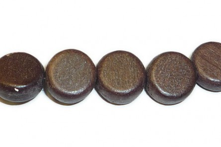 Wood Flat Dime Beads - Brown