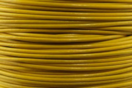 Cord, leather (dyed), yellow, round, greek. Sold per foot.